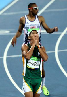 Wayde van Niekerk of South Africa reacts after winning the Men's 400 meter final…