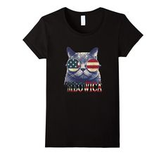 Funny Meowica Freedom Cat T-Shirt - Cool 4th of July Shirt