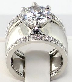 4.28 CT. Wide Solitaire CZ ETERNITY BAND Bridal Wedding 3 PC. Ring Set - SIZE 9 3 • $46.85