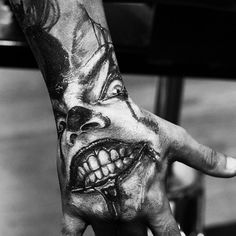Looking for the best hand tattoos? Hand tattoos for men are bold and rebellious. Because hand tattoos are very visible and painful to get, think twice if you plan on…View Payasa Tattoo, Hannya Tattoo, Clown Tattoo, Scary Tattoos, 3d Tattoos, Dark Tattoo, Badass Tattoos, Celtic Tattoos, Skull Tattoos