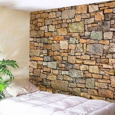 Natural Stone Brick Fabric Wall Hanging Tapestry - Brown W71 Inch * L91 Inch Mobile