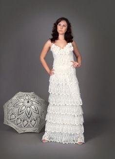 vestido de novia de crochet.