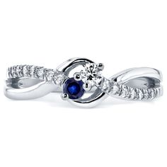 Annello by Kobelli Two Collection 14k White Gold Sapphire and 1/6ct TDW Diamond 2-stone Ring