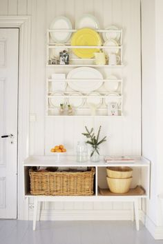 Plate rack to display my vintage dishes. I do love white plates on a wall