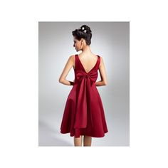Burgundy Empire V Neck Knee Length Satin Homecoming Dress Ruffle Bows... (185 BAM) ❤ liked on Polyvore featuring dresses, bow dress, empire dress, ruffle v neck dress, v-neck dresses and knee high dresses