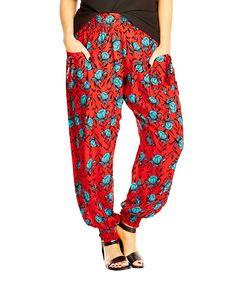 Red & Teal Floral Pants - Plus