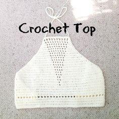 Crochet Tutorial Ideas crochet top tutorial with triangle detailing hook 100 acrylic yarn hope you like it :) - Crochet Halter Tops, Diy Crochet Top, Débardeurs Au Crochet, Crochet Summer Tops, Crochet Bikini Top, Crochet Blouse, Cute Crochet, Diy Crochet Clothes, Crochet Fringe