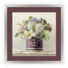 Great Big Canvas 'Tulips in Aubergine Hatbox' Danhui Nai Painting Print Size: H x W x D, Format: White Framed Painting Prints, Wall Art Prints, Canvas Prints, Framed Prints, Paintings, Home Wall Art, Wall Art Decor, Canvas Artwork, Canvas Wall Art