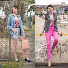 """6be135bf6 Não Repete [@guid] on Instagram: """"a mesma blusinha de veludo molhado em  duas propostas BEM diferentes. qual look é mais teu estilo? azul ou rosa?  💞💙"""""""