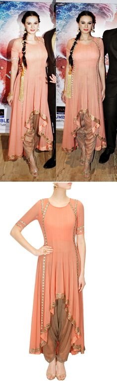 RIDHIMA BHASIN Coral pink high-low kurta with gold dhoti pants