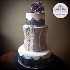 Corset and lace tiered cake   The Sweet Duchess