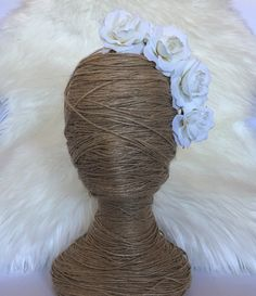 White Velvet Rose Bloom Headband Floral / Flower Crown / Fake Silk / Fascinator / Bridal Bride Hair Piece Floral Coachella by FauxFloralCo on Etsy https://www.etsy.com/au/listing/489398679/white-velvet-rose-bloom-headband-floral