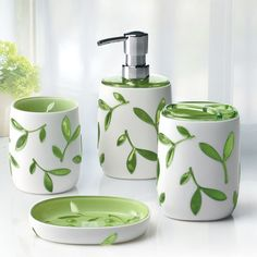 Immanuel Olive 4 Piece Bathroom Accessory Set Color Green