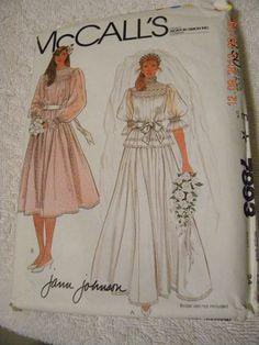 Vintage UNCUT McCall's Bride/Bridesmaid Gown Sewing Pattern #7893 Sz 12 B 34