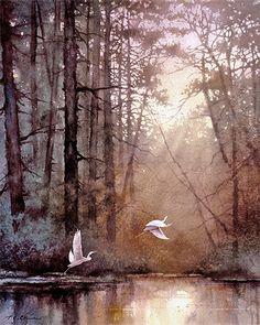 Wildlife Art Print of Watercolor Painting - Birds, Egrets, Trees, Lake, Sunrise