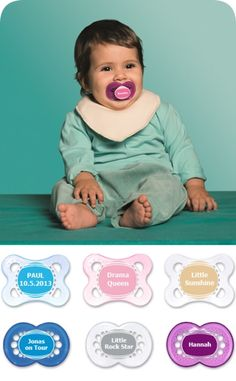 Every child has their own little personality - and we want to emphasise this. With our MAM Personalised Soothers, which you can inscribe with names or your own personal cheeky slogans – whatever best suits your baby. The practical MAM Clip can also be individually embroidered. This turns baby's soother into an unmistakeable accessory!