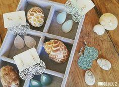 Handmade pastel ornament gemstone earrings by UNIQ|JWLZ.  www.facebook.com/uniq-jwlz