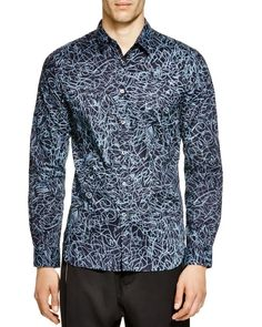 Paul Smith Scribble Print Slim Fit Button Down Shirt