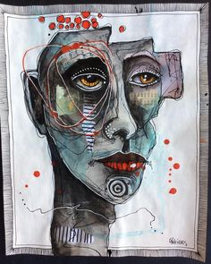Abstract Face Art, Abstract Portrait, Portrait Art, Portraits, Amazing Street Art, Expressive Art, Sewing Art, Psychedelic Art, Art Plastique