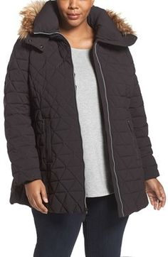 Shop Now - >  https://api.shopstyle.com/action/apiVisitRetailer?id=539084351&pid=2254&pid=uid6996-25233114-59 Plus Size Women's Andrew Marc Down Jacket With Faux Fur Trim Hood  ...