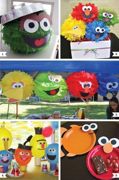 This would be great for my nephew Deremy's 2nd Birthday Party....fabulous pictures: Elmo party decorating