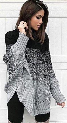 Ellie Poncho Sweater - Black/Grey or Black/White