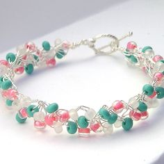 Crochet Wire Beaded Bracelet Coral Turquoise | by CrochetHookeds