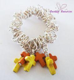 Charm Bracelet Cross beads howlite orange by SBeadedbeauties, £9.00