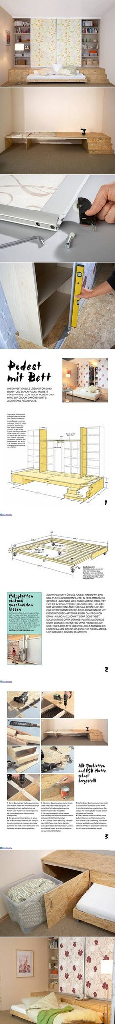 This looks pretty cool, with lots of storage space.DIY Three in One Furniture (Diy Furniture Living Room) Diy Furniture Projects, Woodworking Furniture, Woodworking Plans, Furniture Design, Diy Projects, Wooden Furniture, Tiny Spaces, Small Rooms, Small Apartments