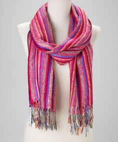 Take a look at this Fuchsia Color Stripe Cashmere-Silk Blend Scarf by Blue Pacific Fashion on #zulily today!