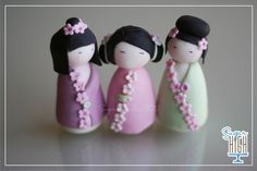 Fondant Kokeshi Doll Toppers by SugarHighInc on Etsy, Fondant Figures, Fondant Cake Toppers, Fondant Cakes, Clay Projects, Clay Crafts, Super Torte, Biscuit, Asian Cake, Fondant Animals
