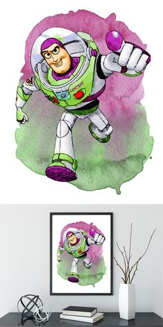 Toy Story, Buzz Print, Toy Story Art, Buzz Watercolor, Baby Boy Nursery, Woody Watercolor, Artwork , Nursery Wall, Type 2, Dorm Art Desenho Toy Story, Toy Story Bedroom, Dibujos Toy Story, Dorm Art, Festa Toy Story, Pinturas Disney, Superhero Room, Toy Story Buzz, Toy Story Birthday
