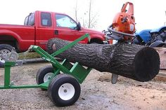 Homemade log splitters are often made on small trailers so they can be transported behind a pick-up truck to split and haul wood . Metal Projects, Welding Projects, Log Trailer, Wood Mill, Chainsaw Mill, Firewood Logs, Log Splitter, Tractor Implements, Logging Equipment