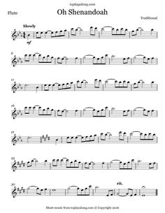 Oh Shenandoah. Free sheet music for flute. Visit toplayalong.com and get access to hundreds of scores for flute with backing tracks to playalong.