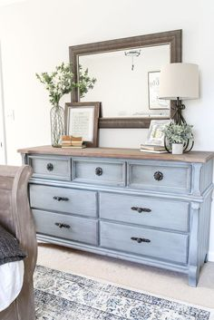 Chalk painted pale blue dresser