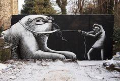 Phlegm, 'Manatee/Otter/Cat', Sheffield - unurth | street art