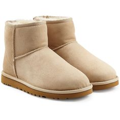 UGG Australia Classic Mini Suede Boots ($150) ❤ liked on Polyvore featuring shoes, boots, ankle booties, uggs, beige, beige suede booties, mini boots, suede leather boots, suede boots and round toe boots