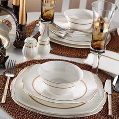 Aparelho de jantar porcelana quadrado bone  50111 – 73 peças 9cdf13aef39