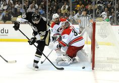 Joki beats out Cam Ward to give the Pens a 1-0 lead during the first period against the hurricanes 10/8/13