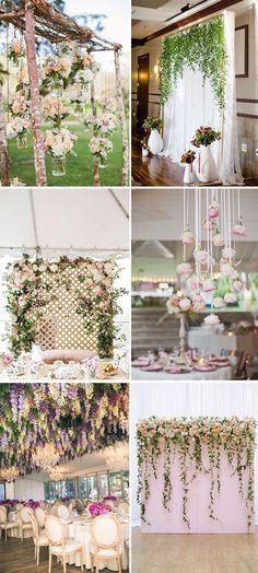 Cortinas de flores en bodas: Una idea que nos encanta por su look romantico y que es genial para decorar un montón de rincones distintos el día de la boda.