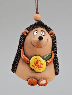 Ceramic Hedgehog Bell Hedgehog with apple School от Molinukas