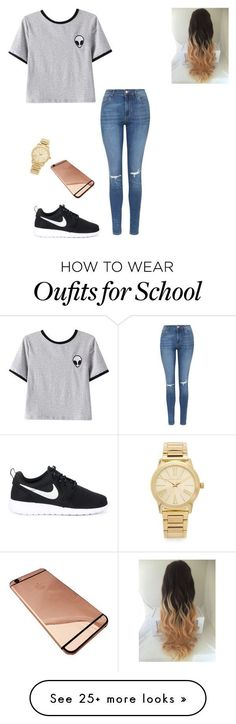 nike shoes School Outfit by marina-nina-1 on Polyvore featuring Chicnova Fashion, Topshop, NIKE and Michael Kors