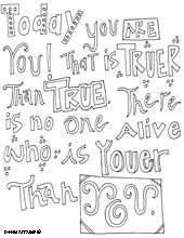 Dr. Seuss Quotes Coloring Pages (for H to color on since I am anti-coloring book)