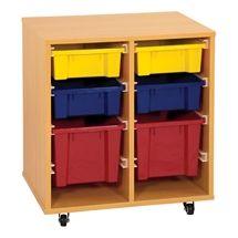 Storage Trolley w/ 6 Assorted Bins