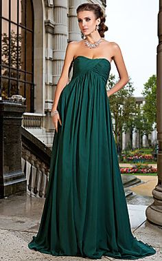 A-line Strapless Sweep/Brush Train Chiffon Evening Dress – AUD $ 148.91