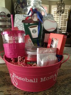 This would be perfect for the church fundraiser Team Mom Gift Basket. This would be perfect for the church fundraiser Theme Baskets, Mother's Day Gift Baskets, Themed Gift Baskets, Basket Gift, Wine Baskets, Beach Gift Basket, Fundraiser Baskets, Raffle Baskets, Cheer Fundraiser Ideas