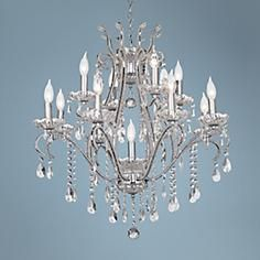 """Chrome and Crystal 29"""" Wide 12-Light Chandelier"""