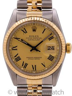 """Rolex Datejust ref# 16013 SS/18K YG circa 1983 - Rolex stainless steel & 18K YG Datejust ref 16013 serial #9.0 million circa 1983 with great looking custom colored """"army green"""" dial with applied gold indexes and hands. Featuring a 36mm diameter full size man's Oyster case with fluted yellow gold bezel and acrylic crystal With original SS/18K YG D link Jubilee bracelet with deployment clasp. Powered by self winding caliber 3035 movement with quick set date and sweep seconds. Recently fully  Vintage Rolex, Vintage Watches, James Bond Actors, Roger Moore, Pre Owned Rolex, Modern Watches, Rolex Datejust, Roman Numerals"""