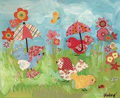 Umbrella Birdies Canvas Reproduction