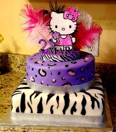 Birthday Cakes - Zebra and cheetah hello kitty birthday cake. sure would be nice for a birthday, lol Hello Kitty Theme Party, Hello Kitty Birthday Cake, Hello Kitty Themes, Hello Kitty Cake, Kitty Party, 1st Birthday Girls, 1st Birthday Parties, Birthday Ideas, 35th Birthday